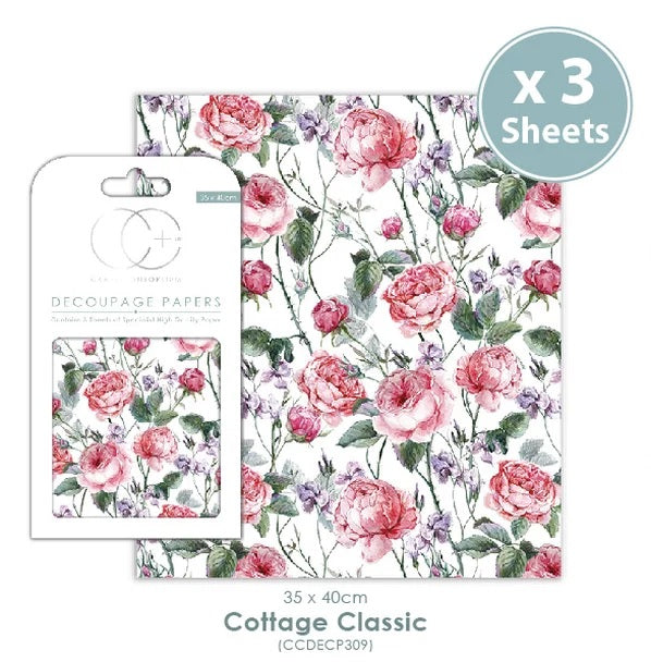 Craft Consortium Cottage Classic - Decoupage Papers Set (3 Sheets)