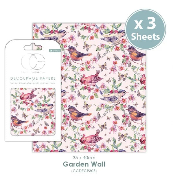 Craft Consortium Garden Wall - Decoupage Papers Set (3 Sheets)