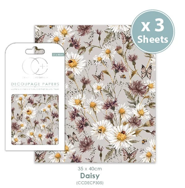 Craft Consortium Daisy - Decoupage Papers Set (3 Sheets)