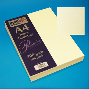 Craft UK A4 Ivory Hammered Card (100 Sheets)