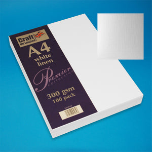 Craft UK A4 White Linen Card (100 Sheets)