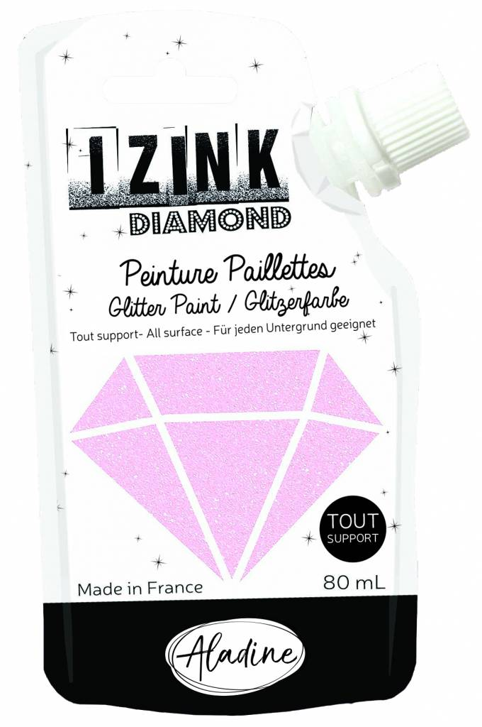 Aladine Izink Diamond Glitter Paint Pastel Pink 80ml. (80830)