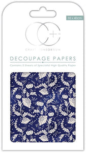 Craft Consortium Floral Porcelain 2 Decoupage Papers (3 Sheets) CCDECP164