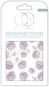 Craft Consortium Lilac Roses Decoupage Papers (3 Sheets)  CCDECP206