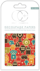 Craft Consortium Little Robots Decoupage Papers (3 Sheets) CCDECP154