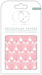 Craft Consortium Love Hearts Decoupage Papers (3 Sheets) CCDECP114