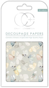 Craft Consortium Meadow Flutter Decoupage Papers (3 Sheets)  CCDECP186