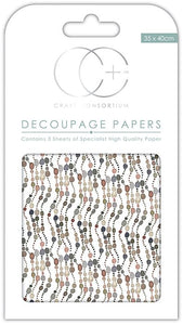 Craft Consortium Natural Pebble Chains Decoupage Papers  (3 Sheets) CCDECP199
