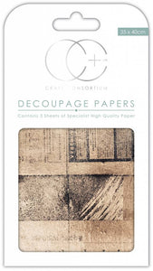 Craft Consortium Old News Decoupage Papers CCDECP238