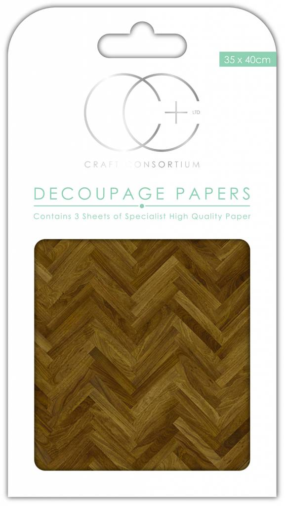 Craft Consortium Parquet Floor Decoupage Papers (3 Sheets) CCDECP086