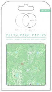 Craft Consortium Peacock Turquoise Decoupage Papers (3 Sheets) CCDECP048