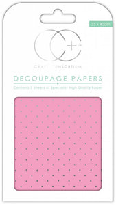 Craft Consortium Pink With Silver Polka Decoupage Papers (3 Sheets)  CCDECP011