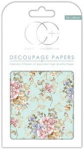 Craft Consortium Victorian Wallpaper Decoupage Papers (3 Sheets) CCDECP140