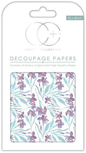 Craft Consortium Violet Dafs Decoupage Papers (3 Sheets) CCDECP150