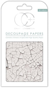 Craft Consortium White Crack Texture Decoupage Papers (3 Sheets) CCDECP156