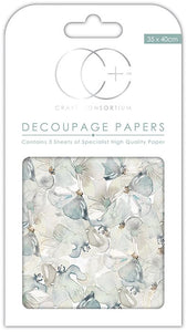 Craft Consortium Wild Pansies Decoupage Papers  (3 Sheets) CCDECP189