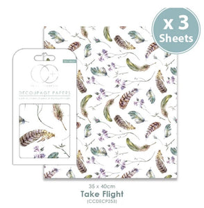 Craft Consortium Take Flight - Decoupage Papers Set (3 Sheets)