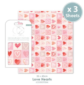 Craft Consortium Love Hearts - Decoupage Papers Set (3 Sheets)
