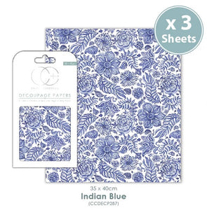 Craft Consortium Indian Blue - Decoupage Papers Set (3 Sheets)