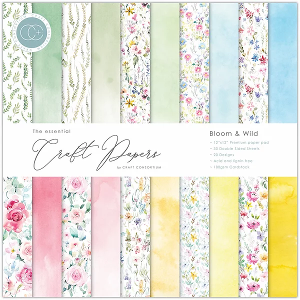 Craft Consortium The Essential Craft Papers 12x12Inch Pad -Bloom & Wild CCEPAD009