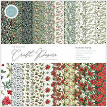 Load image into Gallery viewer, Craft Consortium The Essential Craft Papers 12x12Inch Pad  - Festive Flora CCEPAD011