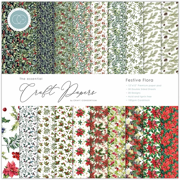 Craft Consortium The Essential Craft Papers 12x12Inch Pad  - Festive Flora CCEPAD011