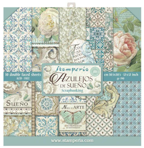 Stamperia Azulejos 12x12 Inch Paper Pack SBBL55 for Scrapbooking