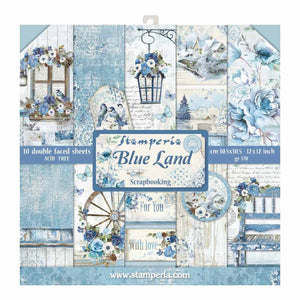 Stamperia Blue Land 12x12 Inch Paper Pack SBBL47 for Scrapbooking