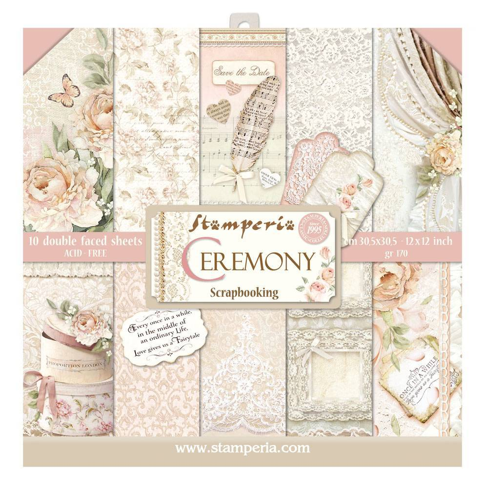 Stamperia Ceremony 12x12 Inch Paper Pack SBBL42 for Scrapbooking