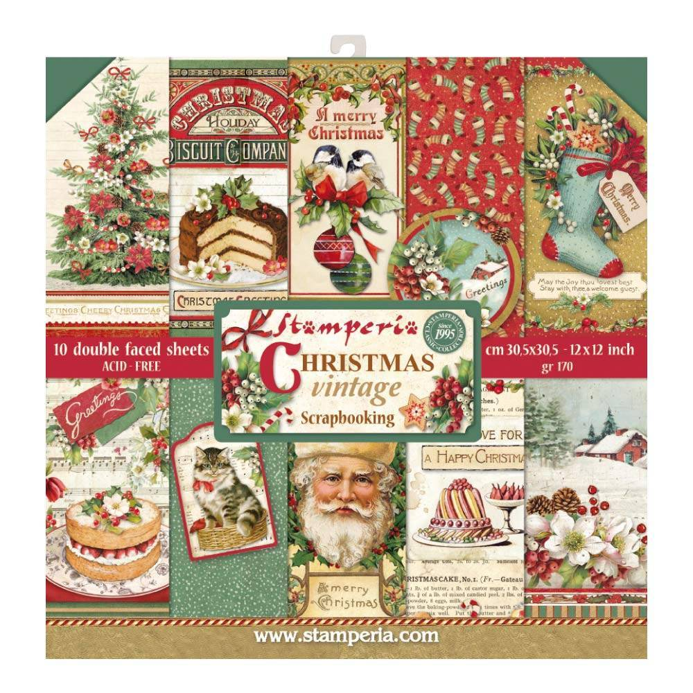 Stamperia Christmas Vintage 12x12 Inch Paper Pack SBBL45 for Scrapbooking -|