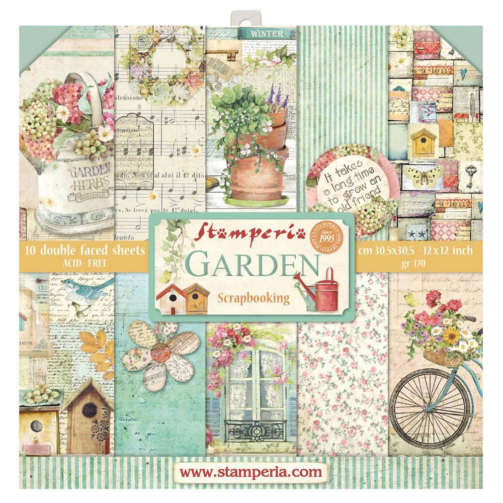 Stamperia Garden 12x12 Inch Paper Pack SBBL43 for Scrapbooking