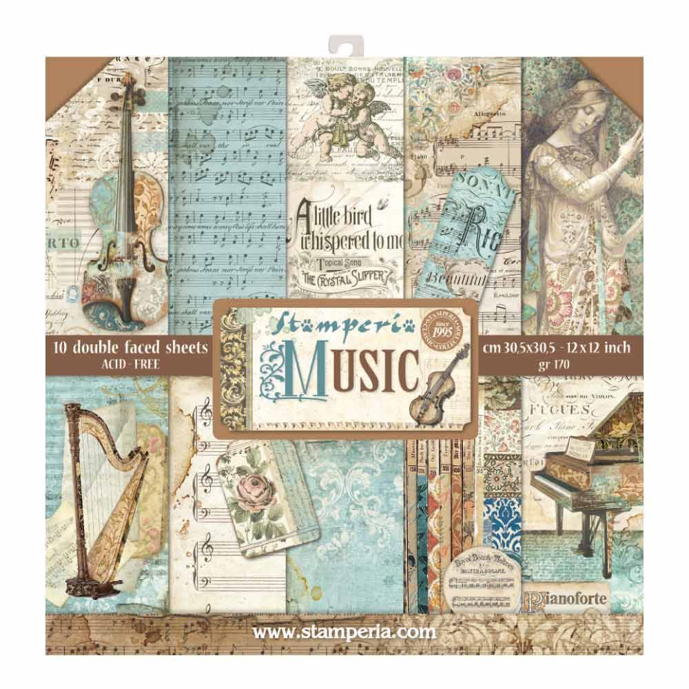 Stamperia Music 12x12 Inch Paper Pack SBBL48 for Scrapbooking