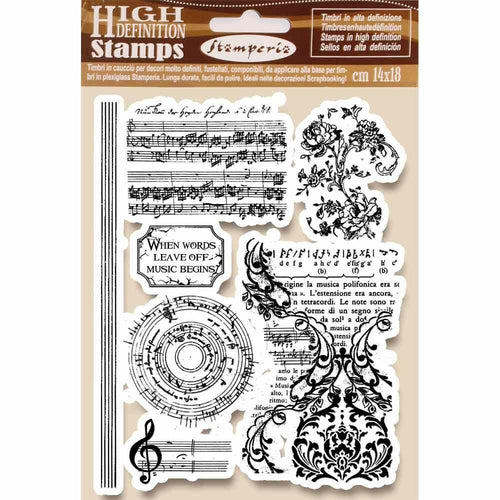 Stamperia Natural Rubber Stamp Music Beginning (WTKCC163)