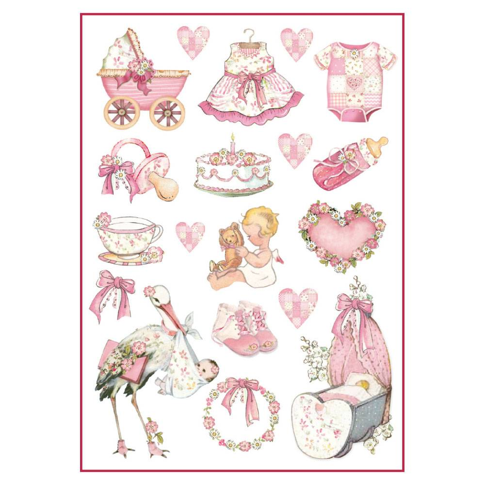 Stamperia Rice Paper A4 Baby Girl Decorations DFSA4290 for Decoupage -|