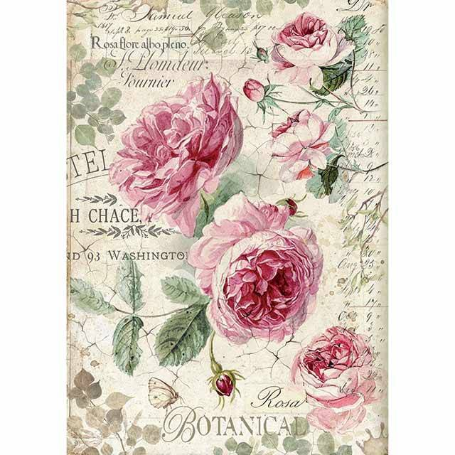 Stamperia Rice Paper A4 Botanic English Roses DFSA4358 for Decoupage