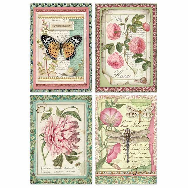 Stamperia Rice Paper A4 Botanic Flower Cards DFSA4361 for Decoupage -|