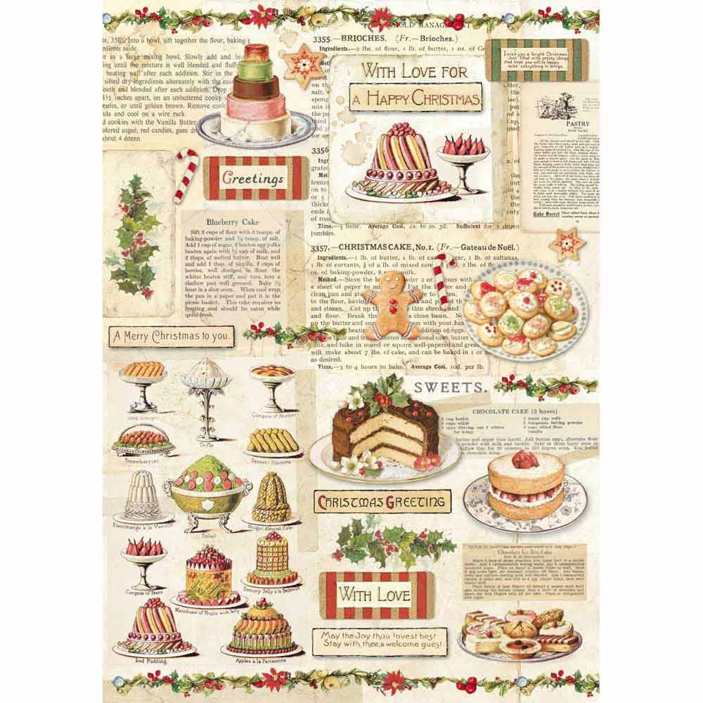Stamperia Rice Paper A4 Christmas Vintage Patisserie DFSA4329 for Decoupage -|