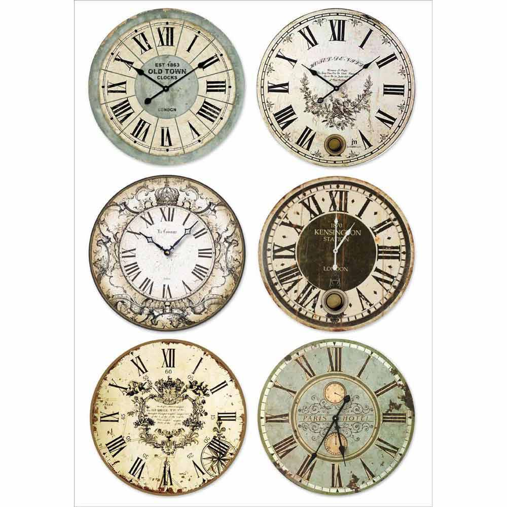 Stamperia Rice Paper A4 Clocks DFSA4316 for Decoupage