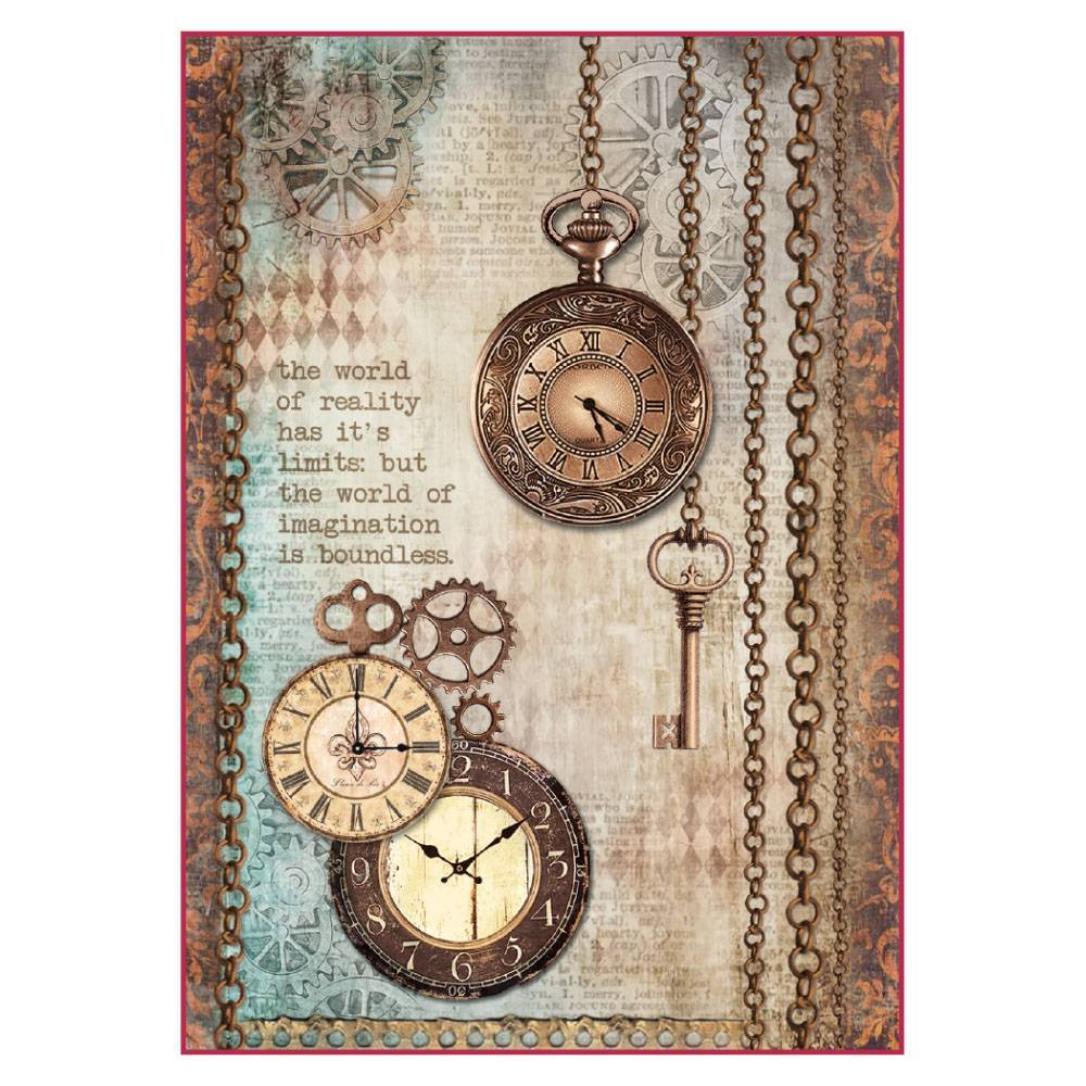 Stamperia Rice Paper A4 Clockwise Clock & Keys DFSA4288 for Decoupage
