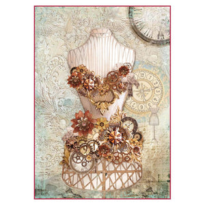 Stamperia Rice Paper A4 Clockwise Mannequin DFSA4286 for Decoupage