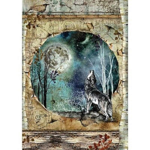 Stamperia Rice Paper A4 Cosmos Wolf & Moon DFSA4388 for Decoupage