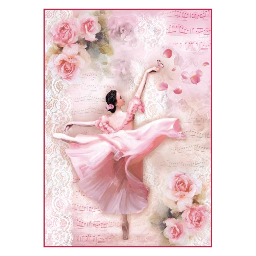 Stamperia Rice Paper A4 Dancer with Petals for Decoupage DFSA4308