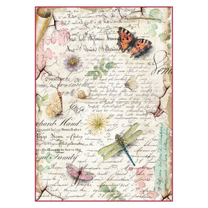 Stamperia Rice Paper A4 Dragonflies & Butterflies for Decoupage DFSA4285