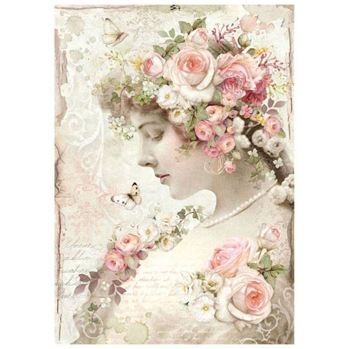 Stamperia Rice Paper A4 Floral Profile Roses DFSA4224 for Decoupage