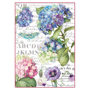 Stamperia Rice Paper A4 Hortensia & Dragonfly for Decoupage DFSA4307
