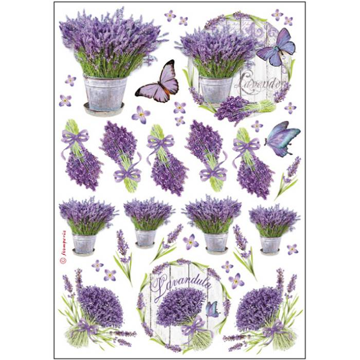 Stamperia Rice Paper A4 Lavander DFSA4175 for Decoupage
