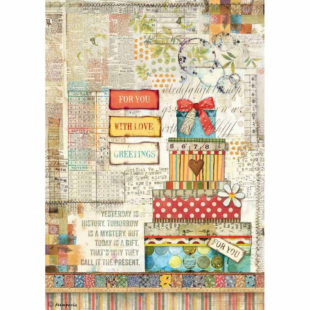Stamperia Rice Paper A4 Patchwork Gift DFSA4331 for Decoupage