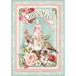 Stamperia Rice Paper A4 Pink Christmas Candle DFSA4315 for Decoupage