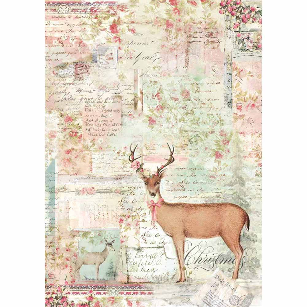 Stamperia Rice Paper A4 Pink Christmas Reindeer DFSA4319 for Decoupage