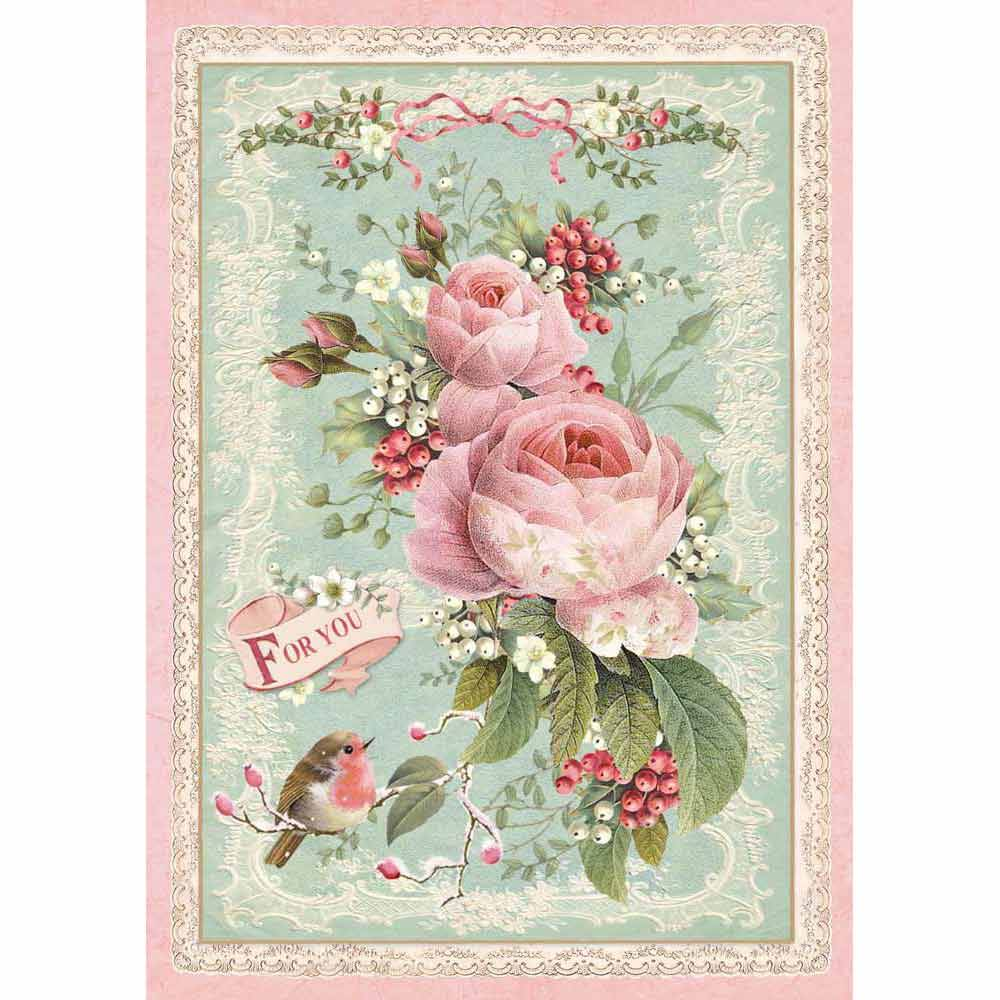 Stamperia Rice Paper A4 Pink Christmas Rose DFSA4313 for Decoupage -|